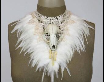 GOTHIC SKULL Choker Apocalyptic Ivory FEATHERS Venice Lace Gothic Wedding