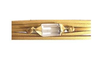 high vibration wrap bracelet, leather wrap bracelet, quartz wrap bracelet