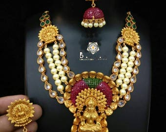 Temple Lakshmiji Necklace/Ruby Necklace/Pearl Necklace/Kundan Necklace/Golden Indian Necklace