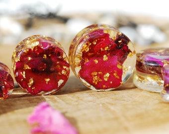 Red Rose Plugs, 24K Gold Ear Gauges, Floral Plugs, Botanical Ear Plugs, Flower Stretchers Ear Weights, Romantic Wedding Plugs, Rose Gauges
