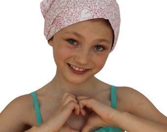 Mia Children's Head Cover, Girl's Cancer Headwear, Chemo Scarf, Alopecia Hat, Head Wrap, Cancer Gift for Hair Loss - Red Hearts