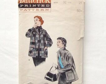 Vintage Butterick 50's Box Jacket Sewing Pattern 7044 - Size 14 (Bust 32)