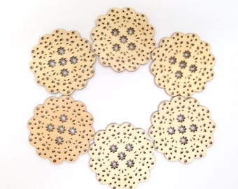 "6 WOOD DIE CUTS consist of Six Intricate and Stitchable 3"" Medallion-Type Plywood Die Cuts Scalloped with Doily Design and a 5 Flower Center"