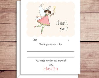 Fill-in Thank You Notes - Fairy Flat Notes - Childrens Thank You Cards- Illustrated Note Cards