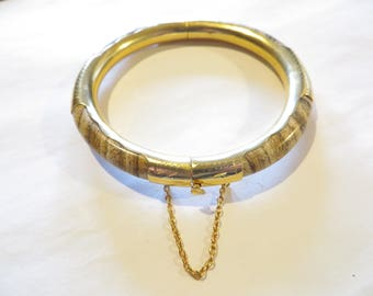 Vintage Agate Gold Tone Bangle Bracelet
