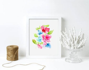 Pink Blue Floral Watercolor Floral Art Abstract Flower Gift For Her Original Nursery Art Print - Floral 9