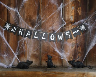 ALL HALLOWS EVE Banner - Halloween banner - Party Banner - Halloween Decorations - Halloween sign