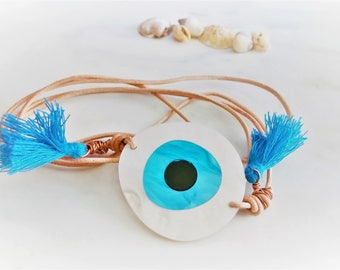 Evil Eye Bracelet, Boho Eye Bracelet, Tassel Charm Bracelet, Leather Wrap Bracelet, Wrap Bracelet, Greek Evil Eye Bracelet, Greek Jewelry