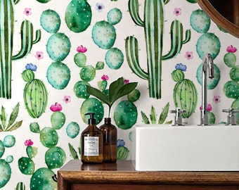 Cactus print Wallpaper/ Watercolour Removable Wallpaper/ Self adhesive vinyl Wallpaper / Nursery Wall Covering - 130