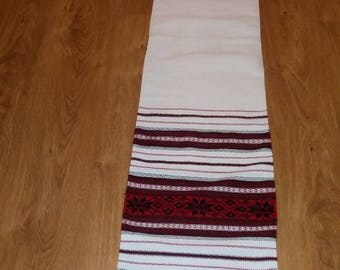 Vintage Ukrainian Rushnyk Red White and Black Table runner Towel Woven Serape Table Tapestry Table topper ethnic home rustic kitchen decor