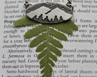 Mountain and Forest Necklace. Silver necklace. Scenery. Landscape. Trees. Woodland. Wanderlust.