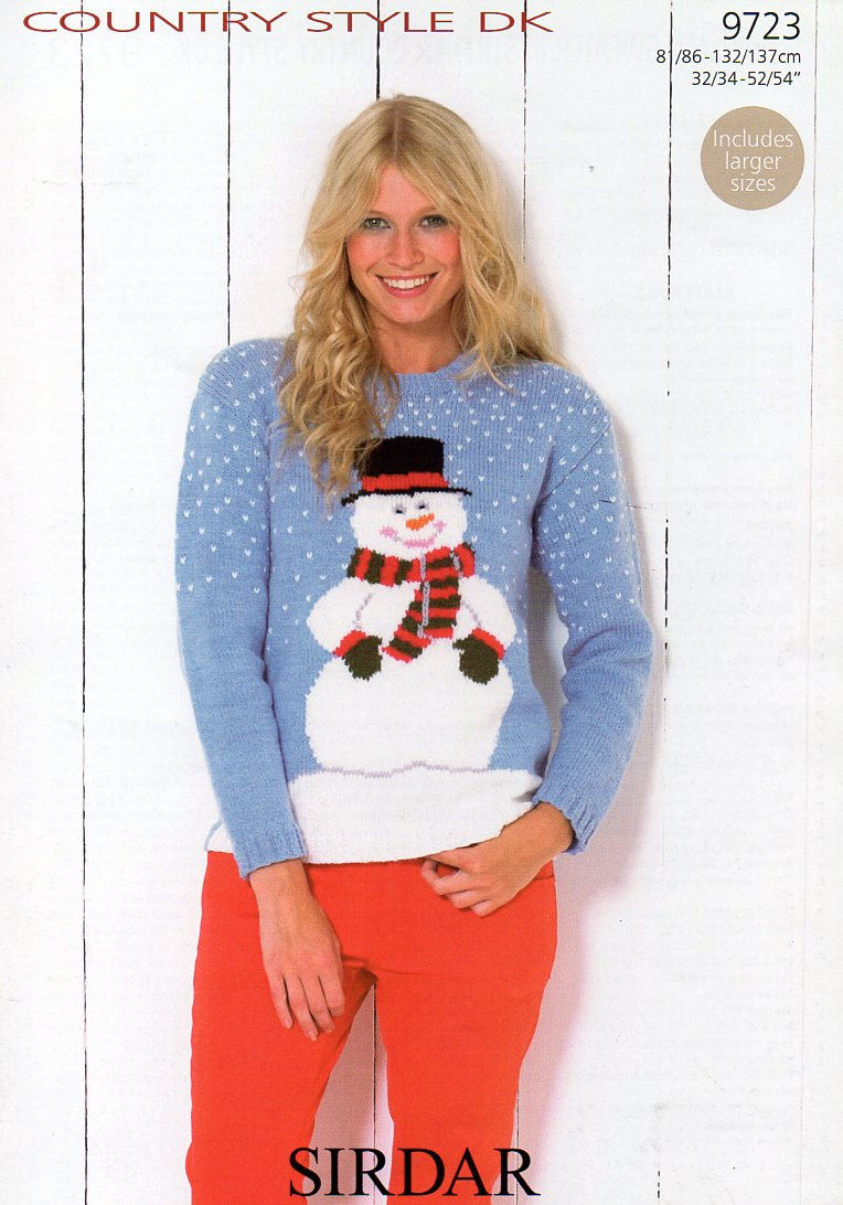 Sirdar Country Style Dk Christmas Snowman Jumper Knitting Pattern Pdf Download From