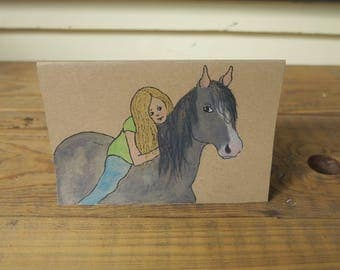 Girl with horse - Handmade card