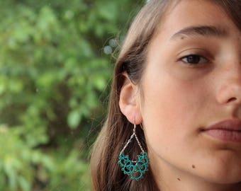 Ecological earrings- tatting lace turquoise - smoky quartz - silver - thread OEKO-TEX