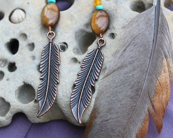 Tiger's Eye and Feather Earrings