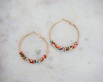 Multicolor Beaded Gold Hoop Earrings