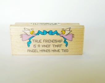 True Friendship Rubber Stamp,  Angels Among Us Craft Shape, Friend Rubber Stamp w Angels, True Friendship a Knot Angels Have Tied, Hero Arts