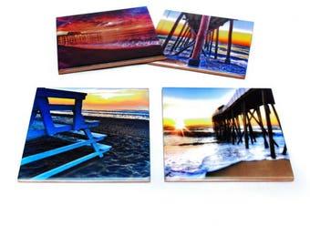 Belmar Beach New Jersey Coaster Set of 4 / Jersey Shore Gift / Belmar NJ Fishing Pier / New Jersey Coaster Set of 4