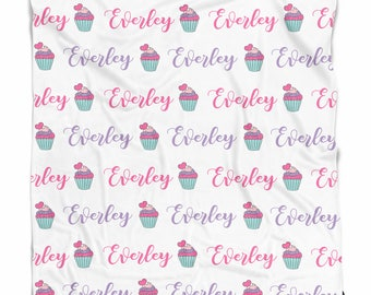Personalized baby blanket with Cupcakes, baby girl blanket, Custom name blanket, blanket with name, swaddle