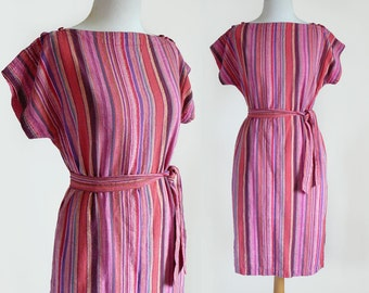 70's 80's Galeries Lafayette India Made Pink Multicolored Vertical Stripe Indian Cotton Belted Shift Dress / Small-Medium