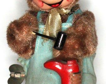 Vintage 1950's Tin Toy Plush Windup - Monkey Shoe Maker