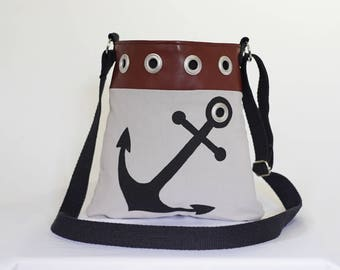 Anchor Purse, Nautical Purse, Boating Purse, Yacht Purse, Beach Wear, Faux Leather, Cross-body or Over Shoulder Bag