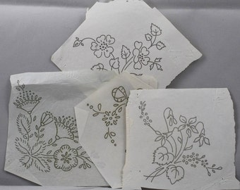 Mixed Flowers - 4 Vintage Iron-on Transfers