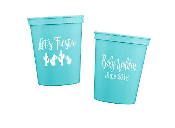 Let's fiesta cups, Let's fiesta shower cups, fiesta party cups, fiesta baby shower, fiesta wedding shower, personalized plastic cups, cactus