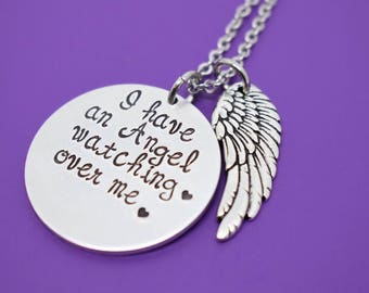 Memorial Jewelry Necklace - Remembrance Jewelry  - I have an angel watching over me - In Memory - Angel