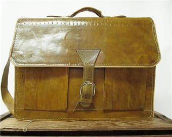 Vintage Ochre Green Gloss Leather Organizer Messenger Work Bag Laptop Briefcase