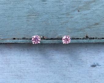 Pink Swarovski Crystal Sterling Silver Post Stud Earrings 1g
