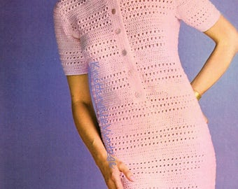 UK Crochet Pattern PDF Womens Ladies Dress with collar Double Knit