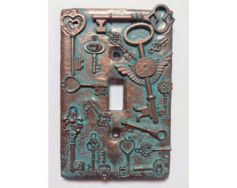 Keys (Steampunk) Stone or Copper/Patina Light Switch Cover (Custom)
