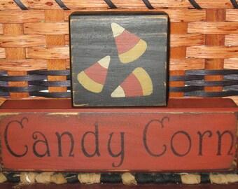 Primitive 2pc Candy corn Block Set fall~harvest~autumn