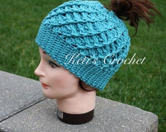 Ponytail Hat,Messy Bun Hat,Aqua Ponytail Hat,Teal Ponytail Hat,Crochet Ponytail Hat,Ponytail Beanie,Ponytail Hat,Handmade Gifts,Christmas