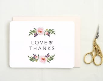Thank You Cards Wedding. Set of Floral Thank You Cards. Thank You Card Set. Blank Thank You Card. Floral Thank You Card. Floral Thanks.