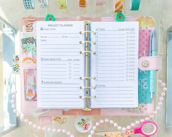 PROJECT PLANNER Printable Personal Filofax Insers 3.7x6.7 PDF Undated Goal Tracker Refill Black White Craft Planner. Instant Download.