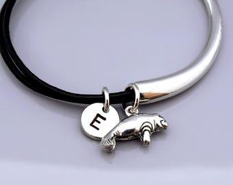 Manatee bangle, Manatee bracelet, Silver Manatee bracelet, Manatee charm jewelry, Leather bracelet, Leather bangle, Personalized bracelet