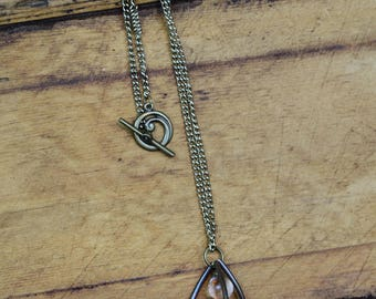 Triangle Cage Necklace with Clear Orb