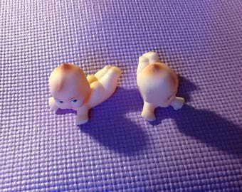 Kewpie/Kupie Dolls.Tiny Cupie Doll. 2 3/4 inches long. Vinyl. Possible Cake Topper/Pencil Topper or a doll's doll. Adorable Pair. You Dress.