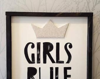 """Girls rule 16x16"""""""