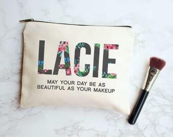 Personalized Gift, Name Gift, Gift for Mom, Gift for Her, Friend Gift, Makeup Case, Personalized Makeup Bag, Makeup Bag, Floral Monogram Bag