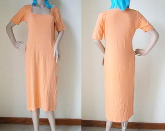ORANGE DRESS -long, maxi, clueless, 90s, boho, casual, hippie, spice girls, summer, pastel, beach, minimalist, aesthetic, indie, cyber-