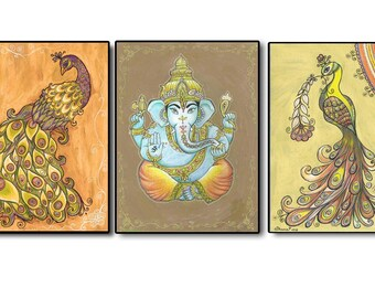 Set Of 3 Art Paintings PRINTS, Ganesha Peacock Painting Picture, Spiritual  Painting, Religious Part 66