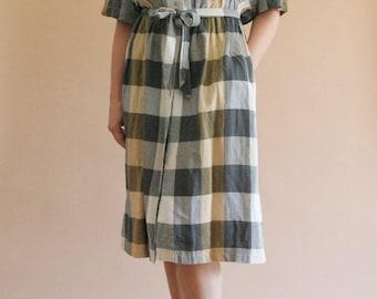 80s/90s plaid linen blend button-down dress