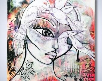 BIRD ART, ORIGINAL art, Bird Painting, Woman Face Art, Ink art, Love art painting, graffiti art canvas, street art, Abstract canvas,vegan