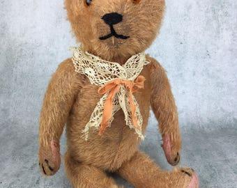 antique mohair teddy bear, antique apricot teddy bear, vintage teddy bear