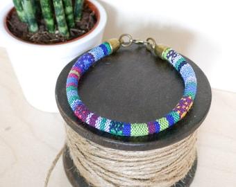 Blue Baja Bangle; travel, wanderlust, gift her him, summer, tribal, aztec, green, festival, bracelet, surf, friendship, jewellery, jewelry