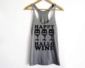 Happy Hallowine Tank | Halloween Tank | Wine Halloween Tank | Funny Halloween Tank Top | Halloween Costume Tank | Wine Lover