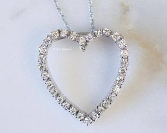 14K White Gold Diamond Heart Necklace/Brooch